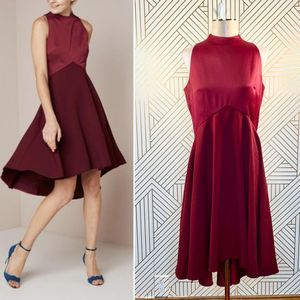 Ted Baker Kandal High Low Dress in Maroon